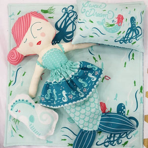 Coral Queen Mermaid Doll Panel by Stacy Iest Hsu for Moda Fabrics