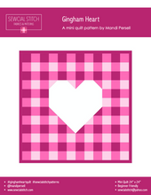 Load image into Gallery viewer, Gingham Heart Mini Quilt Kit Peaches N Cream