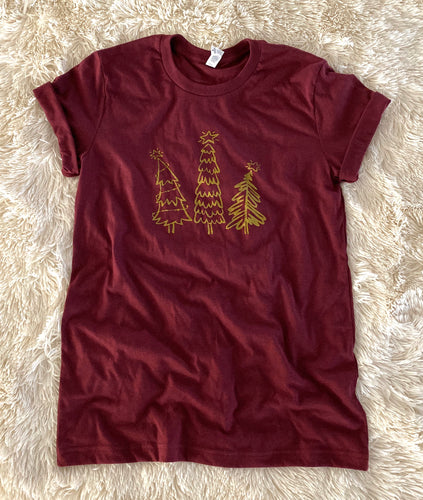 Whimsical Christmas Tree Shirt Heather Burgundy