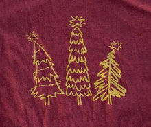 Load image into Gallery viewer, Whimsical Christmas Tree Shirt Heather Burgundy