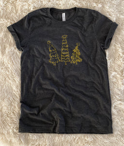 Whimsical Christmas Tree Shirt Heather Gray