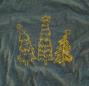 Whimsical Christmas Tree Shirt Heather Green