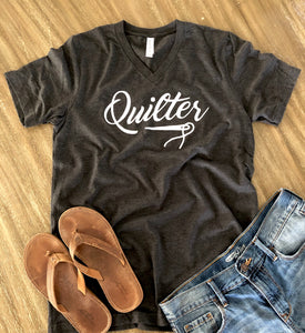 Quilter V-Neck Tee Shirt Heather Gray