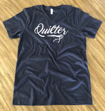 Load image into Gallery viewer, Quilter V-Neck Tee Shirt Navy Blue
