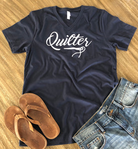 Quilter V-Neck Tee Shirt Navy Blue