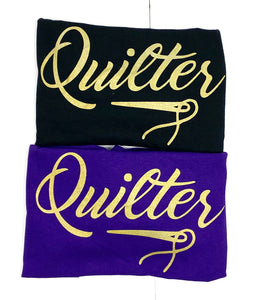 Quilter Tee Shirt Purple and Black