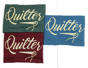 Quilter Tee Shirt Deep Teal, Burgundy and Green