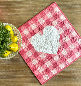 Gingham Heart Mini Quilt Kit Peaches N Cream