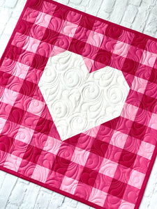 Gingham Heart Mini Quilt Table Topper Pattern PDF