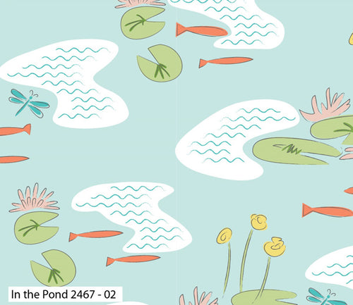 Lily Pad In the Pond Multi Fabric by Debbie Shore for Craft Cotton Co
