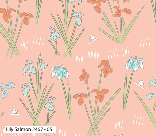 Lily Pad Salmon Lily Fabric by Debbie Shore for Craft Cotton Co