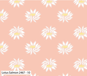 Lily Pad Salmon Lotus Fabric by Debbie Shore for Craft Cotton Co