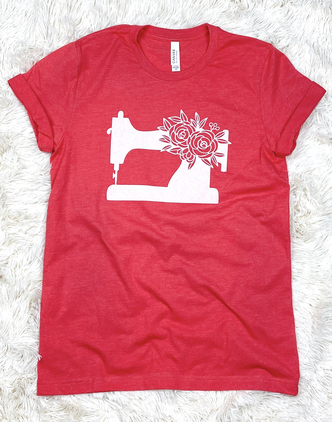 Sewing Machine Tee Shirt Heather Red