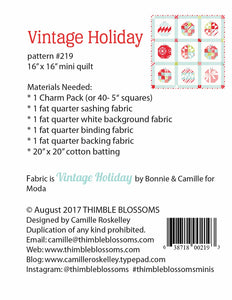 Vintage Holiday Mini Quilt Pattern by Thimble Blossoms