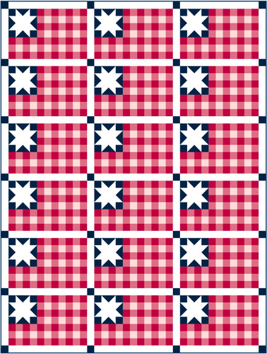 Plaid Flag Solid Quilt Kit by Sewcial Stitch 6 size options-Navy Blue
