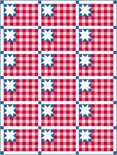 Plaid Flag Solid Quilt Kit by Sewcial Stitch 6 size options-Denim Blue