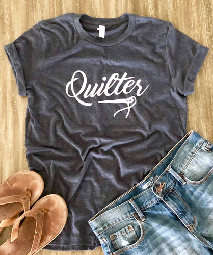 Quilter Tee Shirt Heather Navy Blue