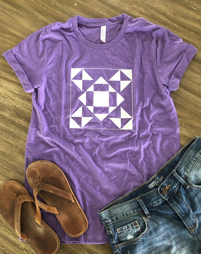 Seeing Stars Quilt Block Tee Shirt Heather Purple