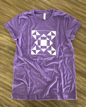 Load image into Gallery viewer, Seeing Stars Quilt Block Tee Shirt Heather Purple