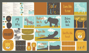 Safari Life Safari Animal Fabric Book Panel by Stacy Iest Hsu for Moda Fabrics