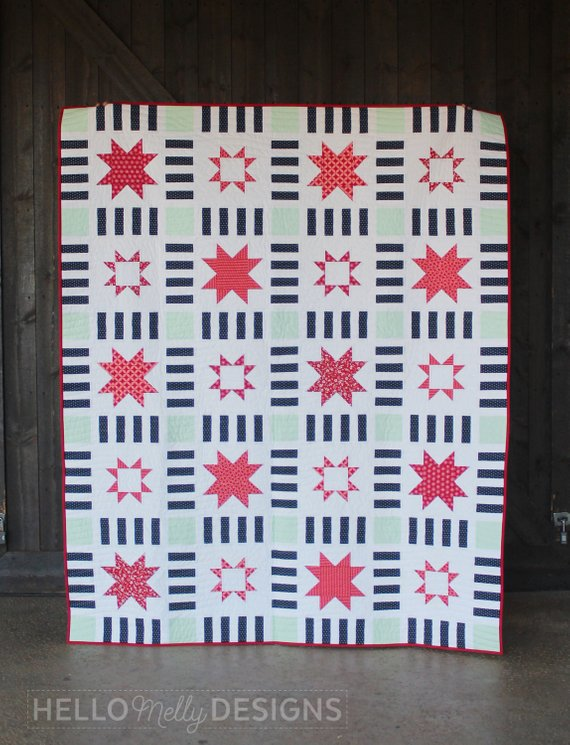 Stars In Stripes Quilt Pattern by Hello Melly Designs