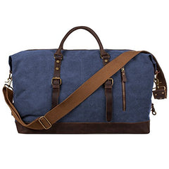 Oversized Canvas Leather Duffel Shoulder Handbag