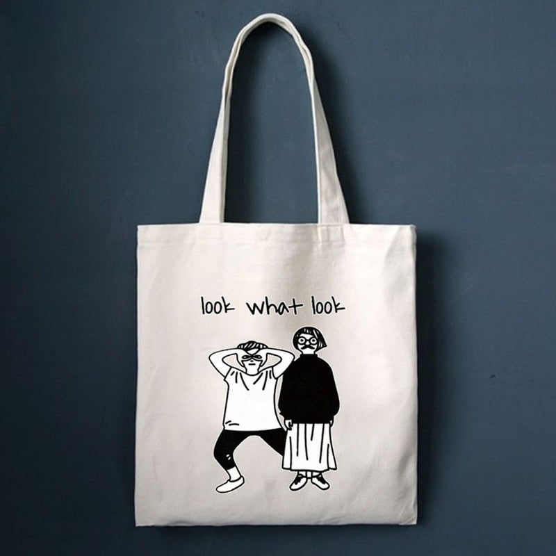 Canvas Beach Bag Cartoon Printed Shopping Bags Female