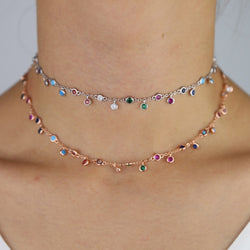 silver rose gold rainbow jewelry