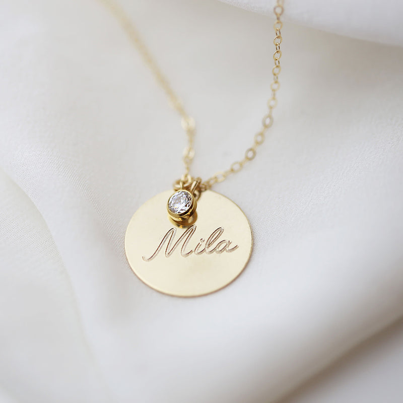 Personalized Disk Initial Necklace