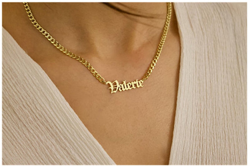 Gold Silver Curb Chain Pendant Necklace
