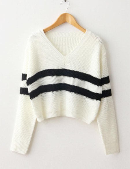V-neck Crop Top Striped Sweater