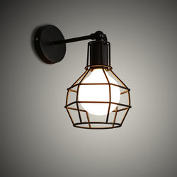 Iron cage loft retro wall lamp