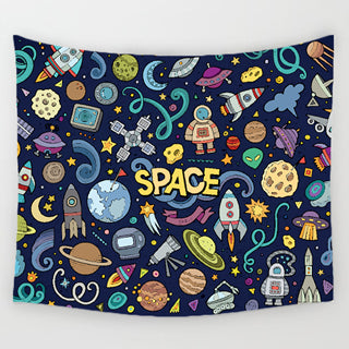 Cartoon Pattern Tapestry Yoga Rug
