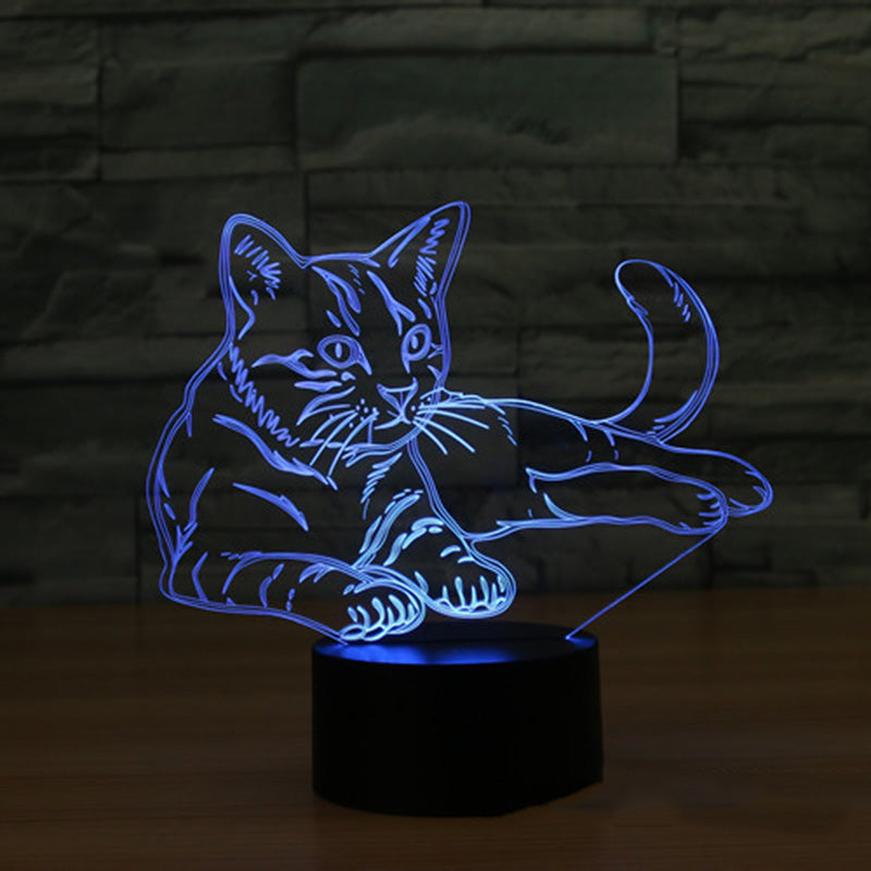 3D Night Light Changeable Cat illusion