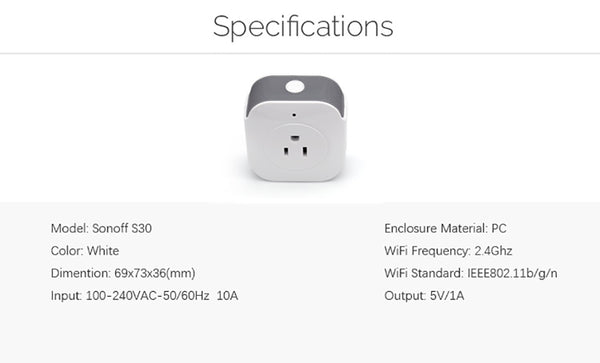 Sonoff S30 Wifi Power Socket