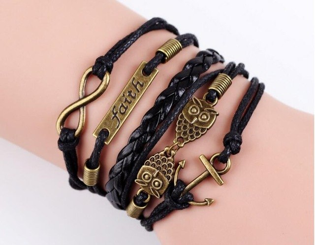 Multi-Layer Leather Charm Bracelet