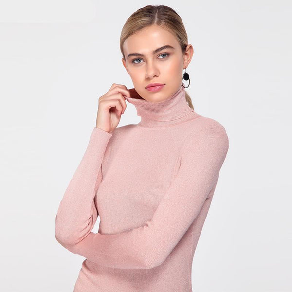 Shiny Sequins Women Turtleneck Sweater