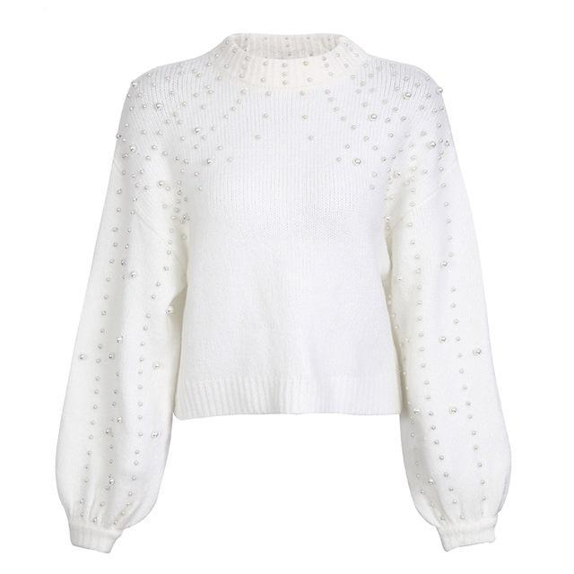 Pearl turtleneck knitted sweater