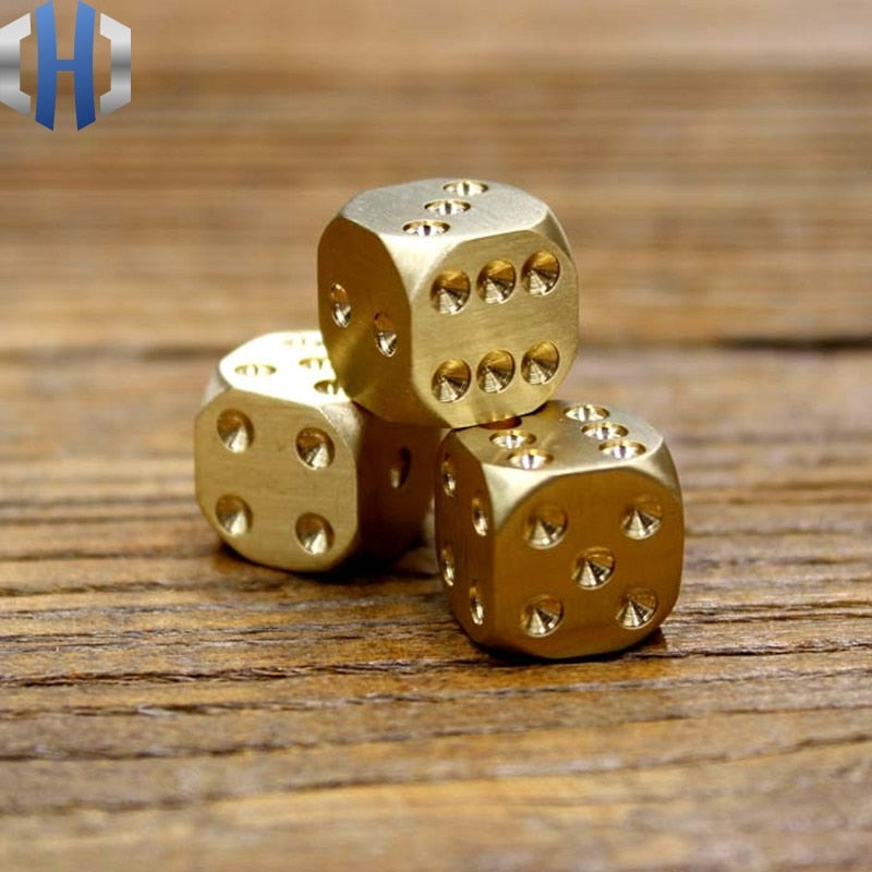Manual Polished Pure Copper Dice Decorations Brass