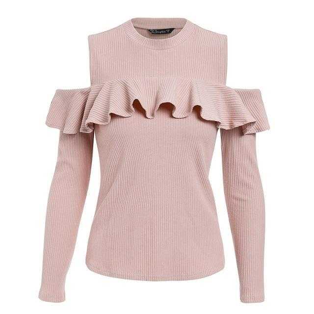 Cold Shoulder Long Sleeve Sweater
