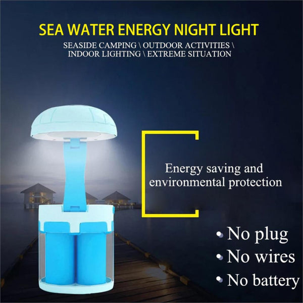 LED Salt Water Chemical Powered Night Light Portable Desk Lamp