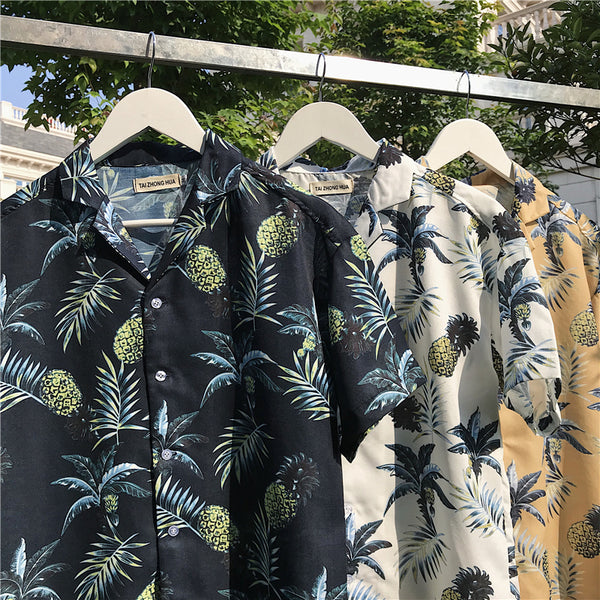 Casual Loose Fashion Leaf Print Men's Shirt