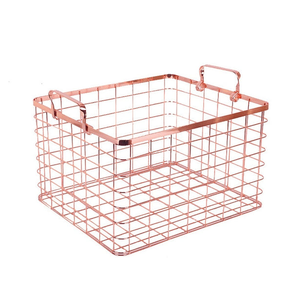 Metal Rose Gold Storage Basket