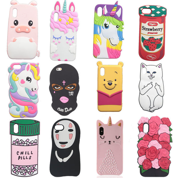 3D Cute Cartoon Soft Silicone Cover
