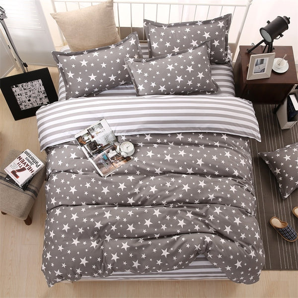 Classic bedding set 5 size grey blue flower bed linen 4pcs/set