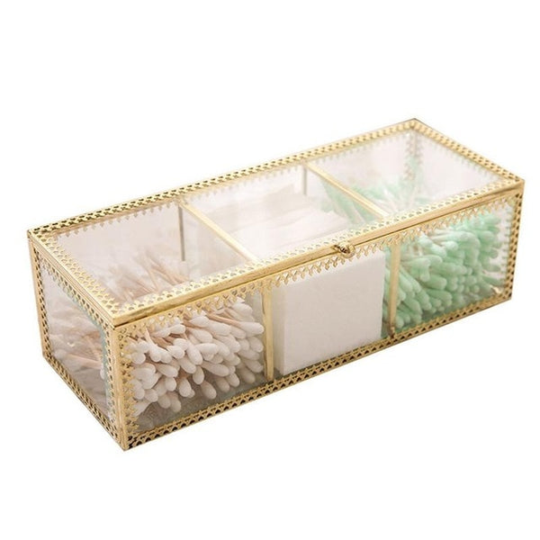 Retro Copper Edge Glass Cotton Box