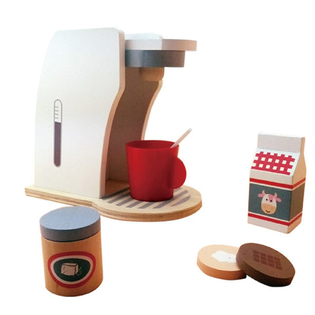 House toy wooden coffee machine breakfast combination