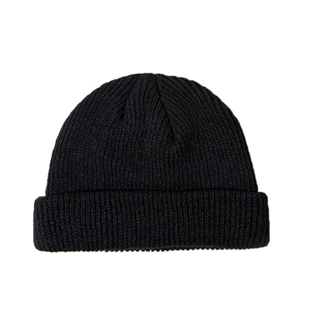 Winter Ribbed Knitted Cuffed Short Melon Cap