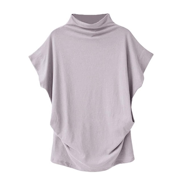Casual Turtleneck Short Sleeve Blouse