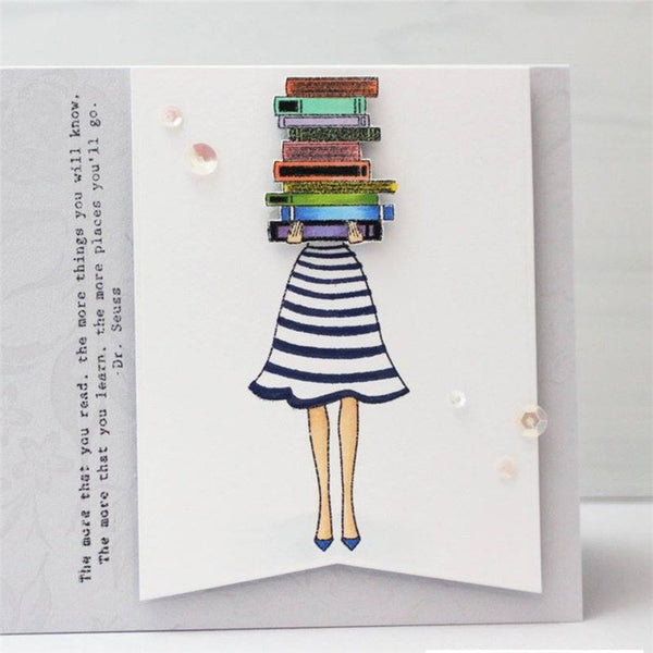 Girl's skirt and book flower stamps cards